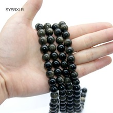 Wholesale New Gold Obsidian Stone Beads 6-12 MM DIY Bracelet Necklace Natural For Jewelry Making Strand 15 Inches