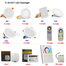 Miboxer FUT063/FUT066/FUT068/FUT069 6W/9W/12W/15W/18W RGB+CCT LED Downlight Dimmable LED Ceiling Spotlight AC110V 220V B8/iBox1
