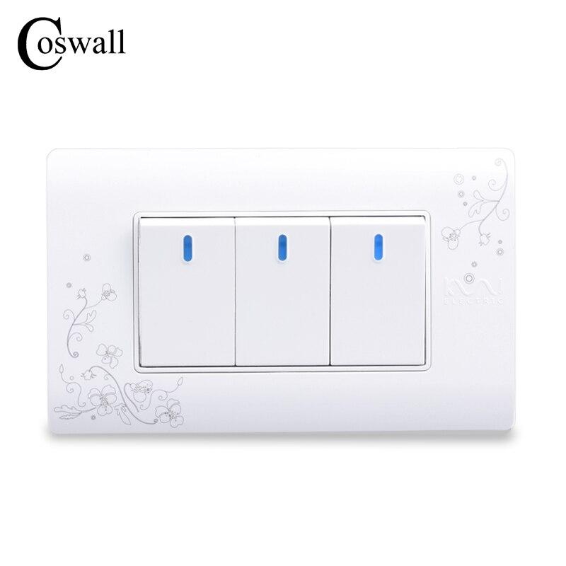 COSWALL Einfachen Stil 3 Gang 2 Way Taster Wand Schalter Interruptor Weiße Farbe Lichtschalter 114*70mm AC 110 ~ 250 V C30-118-103