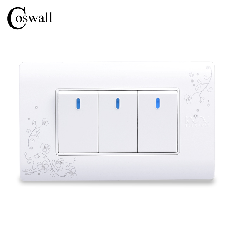 COSWALL Simple Style 3 Gang 2 Way Push Button Wall Switch Interruptor White Color Light Switch 114*70mm AC 110~250V C30-118-103