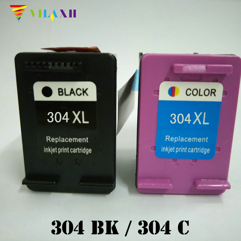 Vilaxh 304 xl Compatible Ink Cartridge Replacement for HP 304xl For Deskjet 3700 3720 3730 3732 Printer 2pcs set 60xl refilled ink cartridge replacement for hp 60 xl for deskjet d2530 d2545 f2430 f4224 f4440 f4480 envy c4650 c4680