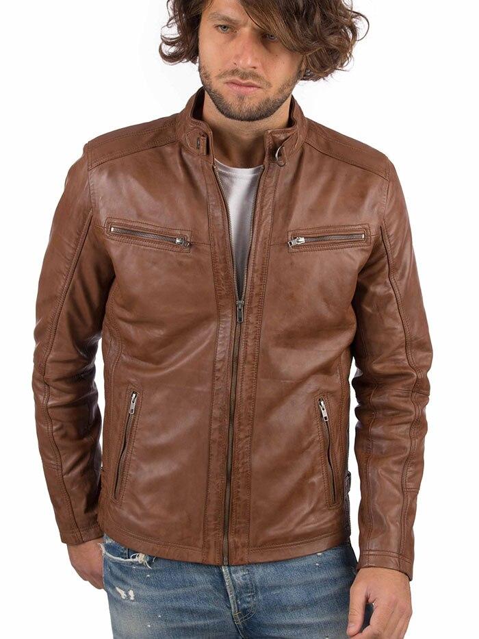VAINAS European Brand Mens Genuine Leather Jacket For Men Winter Real Sheep Leather Jacket Motorcycle Jackets Biker Jackets