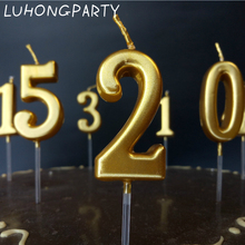 Birthday Number Candle Gold Cake Cupcake Topper Party Decoration Supply