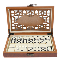 Double Six 28pcs Dominoes Set Traditional Board Travel Game Toys Gift with Retro Wooden Box Case Entertainment Playing chess