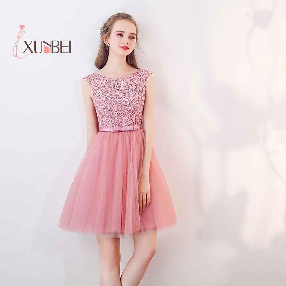 472f4d8d99a New Arrival Vestido 15 ano curto Dusty Pink Lace Homecoming Dresses 2019  Appliqued 8th Grade Graduation