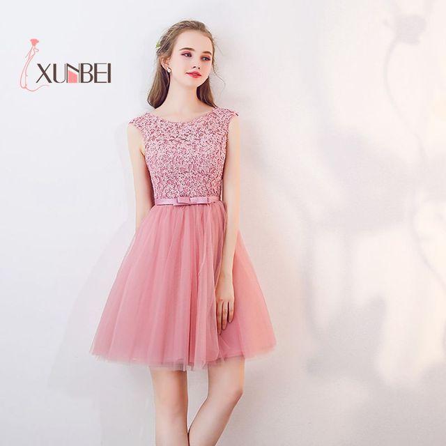 7c72d2a54 Nueva llegada Vestido 15 ano curto de encaje Rosa polvoriento vestidos 2019  ello 8th grado de