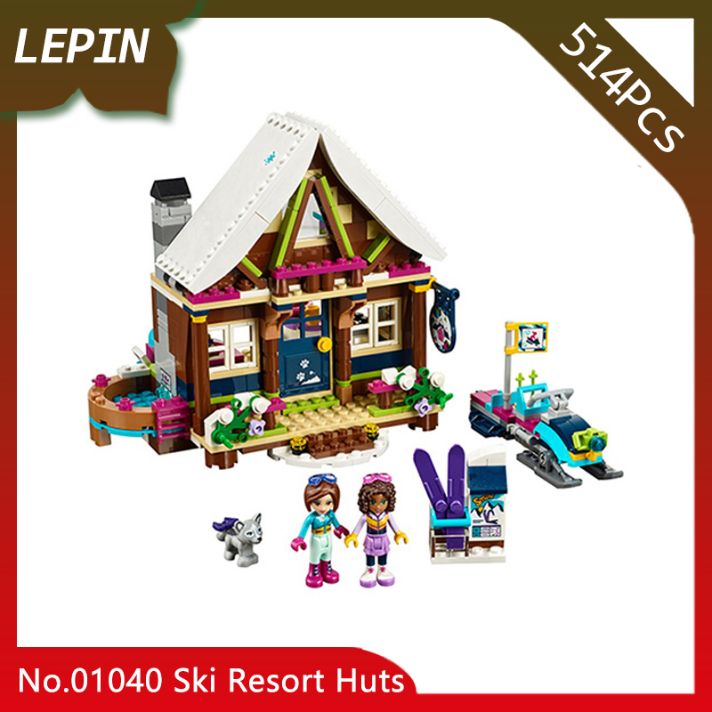Lepin 01040 Ski Resort Huts Model 514pcs Friends Series Building Bricks Blocks Educational Toys for Children gifts 41323 Doinbby lepin 01040 friends girl series 514pcs building blocks toys snow resort chalet kids bricks toy girl gifts lepin bricks 41323