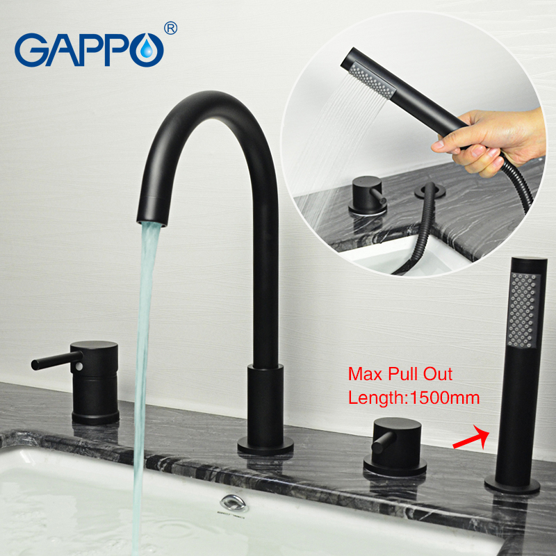 GAPPO Split bathtub faucet bathroom  Rainfall black sink taps Water mixer wall mounted shower mixer tap Sanitary Ware Suite