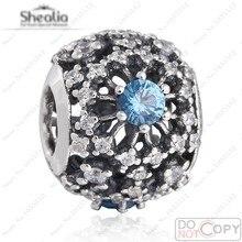 Elegante luz azul a cielo abierto del copo de nieve de los granos del encanto cupieron Shealia pulseras Diy auténtica plata de ley 925 Zirconia encanto del copo de nieve