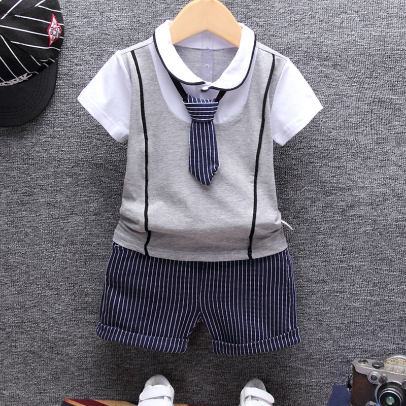 2019 Summer Cotton Baby boy Clothing Sets Formal Infant 1 Year Birthday Party Clothes Suit T-shirt+Pant Children's Cloth Sets(China)