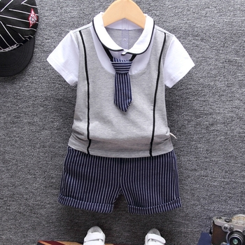 2018 Summer Cotton Baby boy Clothing Sets Formal Infant 1 Year Birthday Party Clothes Suit T-shirt+Pant Children's Cloth Sets