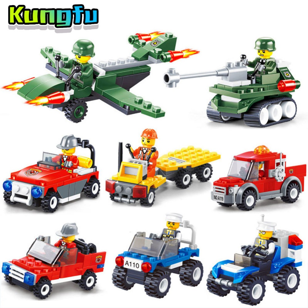 Mini Car Building Blocks Legoed City Police Serie Cars Contains people Mini Transportation Compatible legoeINGlys Duploe bricks