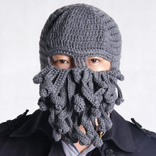 Handmade Funny Tentacle Octopus Hat Crochet Cthulhu Beard Beanie Men's Women's Knit Wind Mask Cap Halloween Animal Gift(China)