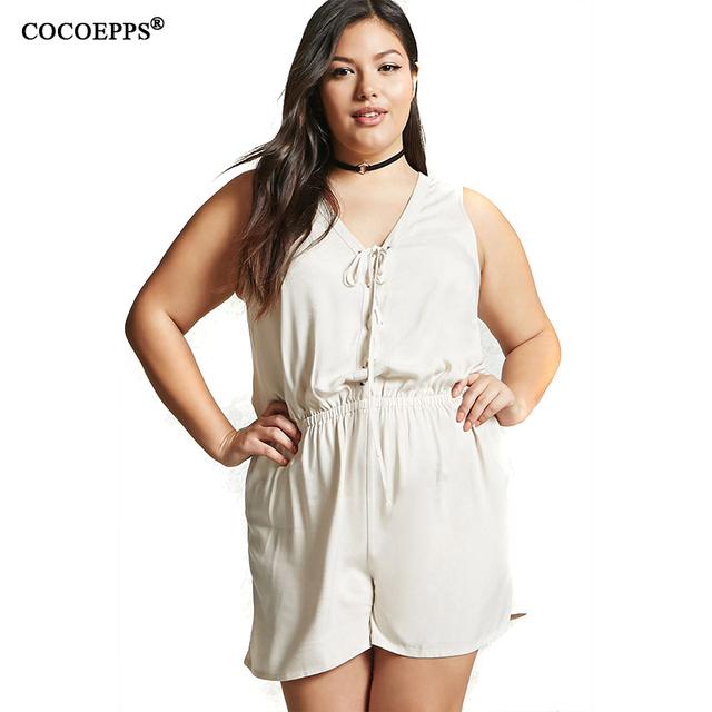 Women Large Size Rompers Plus Size Ladies V Neck Sleeveless Short Jumpsuit