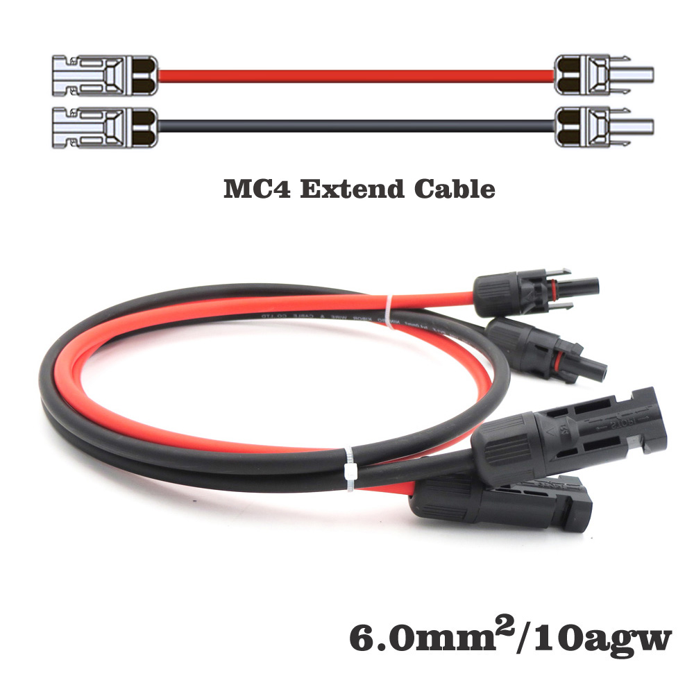 1pair X 10m 5m 3m 2m 1m 6mm2 10AWG MC4 Connector Extension Connect Branch Black Parallel Series 1 Meter Extend Cable