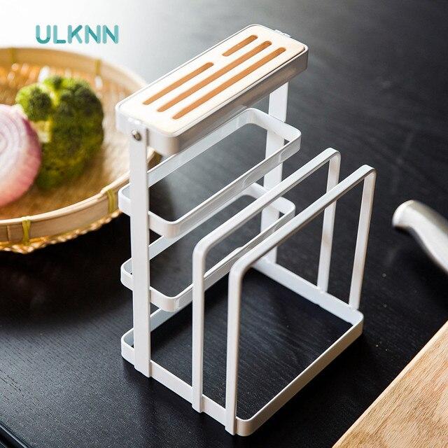 Europe Style Metal Storage Racks Cutting Boards/Kitchen Knife Holders  Creative Wood Draining Rack Multi