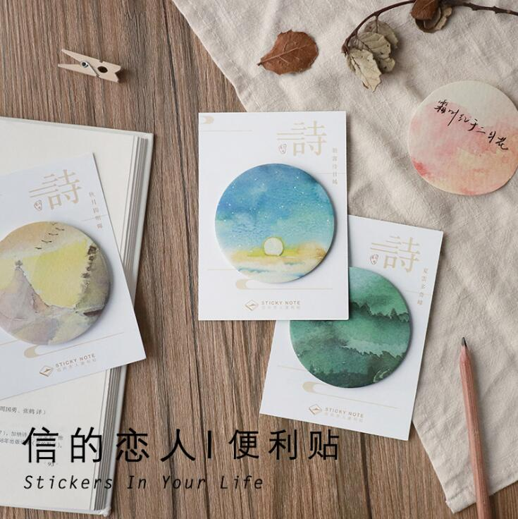 Chinese Style Poetry Scenery Self-Adhesive N Times Memo Pad Sticky Notes Bookmark School Office Supply