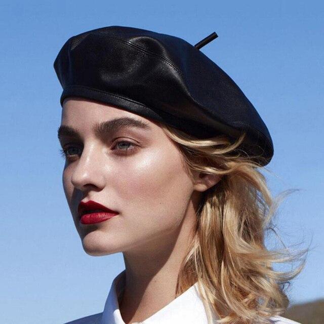 Luxury Fashion Autumn Winter Black PU Leather Beret Hats Women Warm Caps Female French Femme Brand Design Adjustable Beret Hat