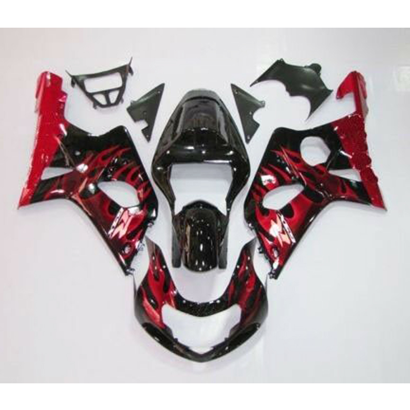 <font><b>GSXR</b></font> <font><b>1000</b></font> Black w/ Red Flame Complete Injection Fairing for 2000 2001 <font><b>2002</b></font> <font><b>Suzuki</b></font> G-SXR GS-XR <font><b>1000</b></font> image