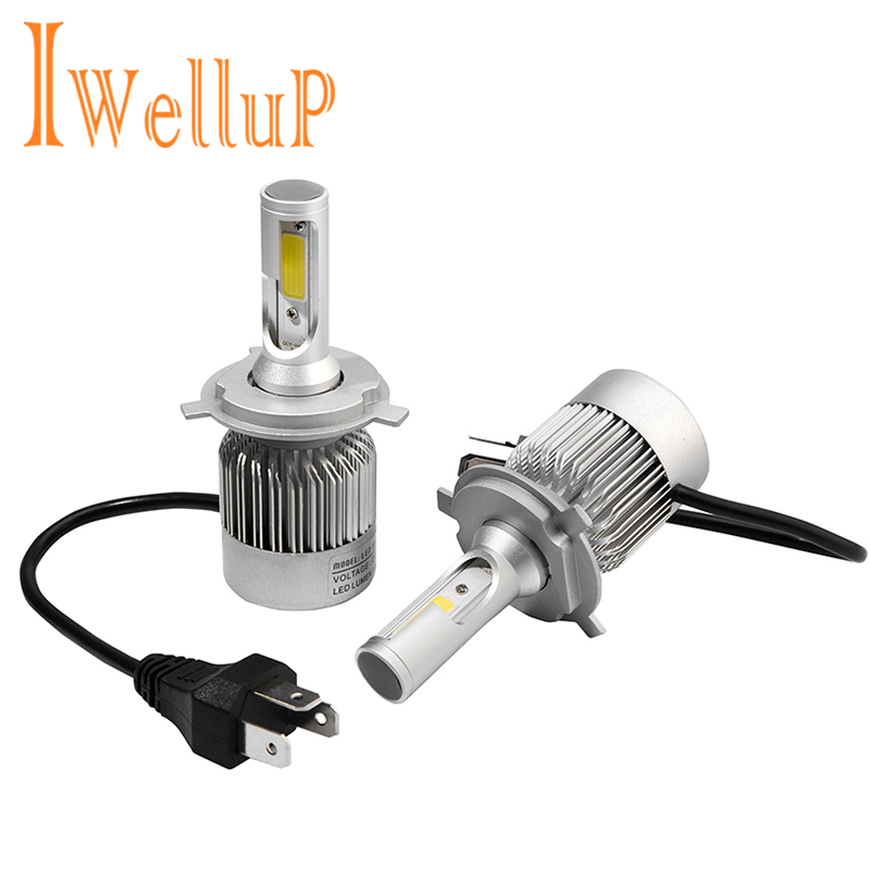IWELLUP Car Headlight H7 H4 LED H8/H11 9005 HB4/9006 H1 H3 H13 9007 72W 8400LM/set Auto Bulb Headlamp Kit 6000K Light Sourcing