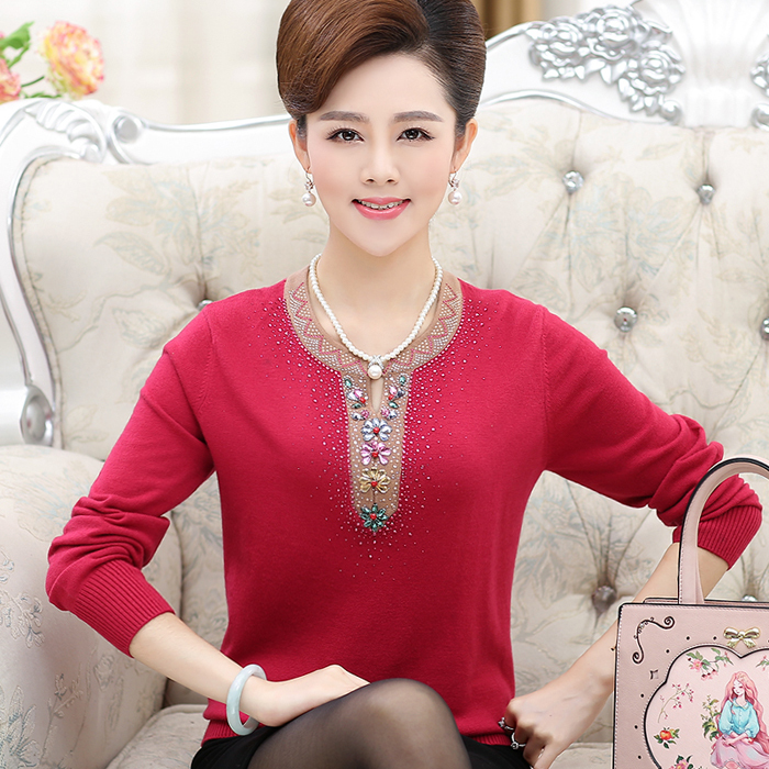 Hot Sale Middle Aged Women Sweater New O neck Pullover Spring Tops Solid Cashmere Sweater Autumn Female Sweater Plus Size