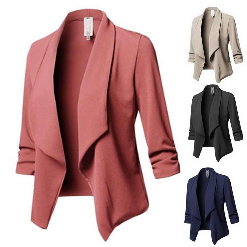 2afa53ea2f4c2 ... LASPERAL Blazer Women Solid Color Suit Long Sleeved Lapel Casual Small  Suit Slim Yards Ladies Blazers ...