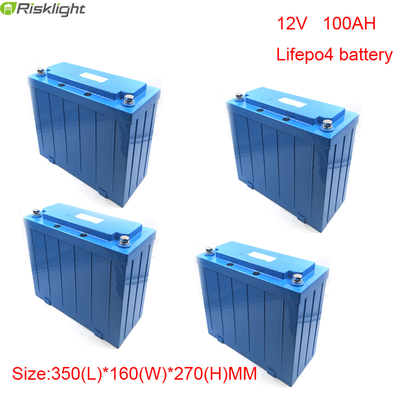 No taxes 4pcs/lot  OEM Deep Cycle Life Rechargeable Battery 12v 100Ah Lifepo4 Battery Pack For Solar Power Storage System free customs taxes and shipping balance scooter home solar system lithium rechargable lifepo4 battery pack 12v 100ah with bms