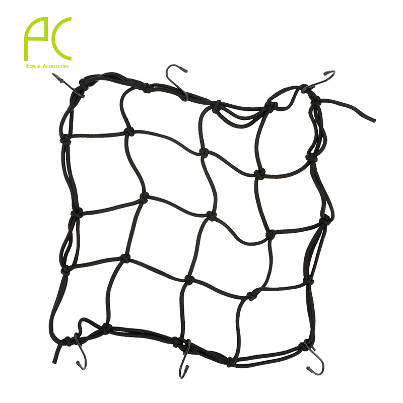 PCycling Bicycle Cargo Net 30CM*30CM Motorcycle Elastic Luggage Rope Fixed Helmet Sundries Elastic Cord Strap Tie Band Hook elastic baggage band helmet holder for motorcycle yellow