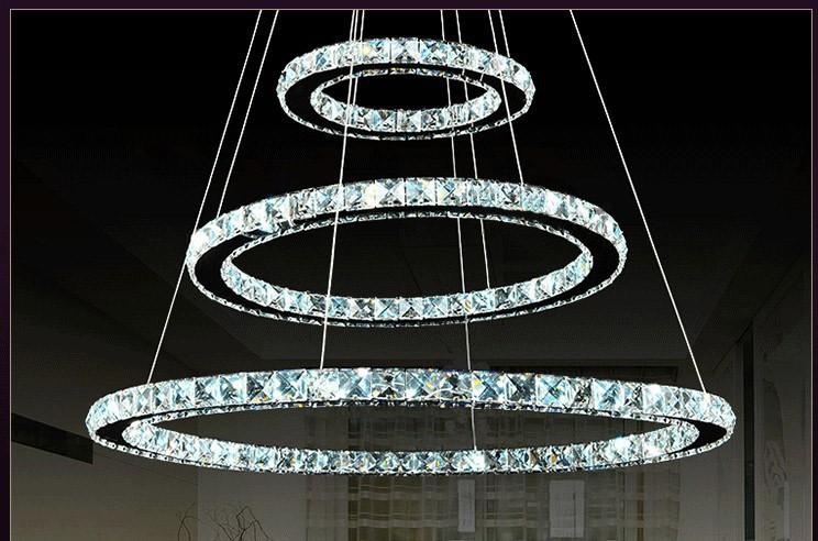 Moderne Lampen 65 : 3 kreise 65 watt led k9 kristall kronleuchter heißer verkauf diamant