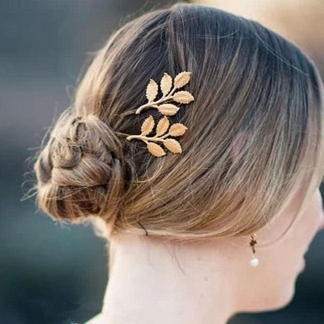 Nieuwe Mode hairwear goud kleur blad ontwerp Haarspeld voor meisje vrouwen dames 1 partij = 2 pieces H270
