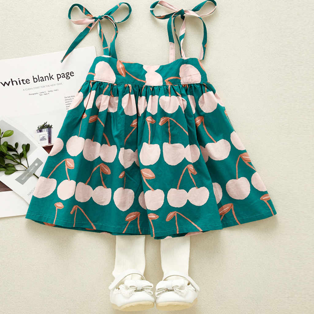summer girl clothes Baby Infant Girls Kid Sleeveless Litchi Printed Straps Princess Dress Clothes Children Holdiay Beach Sunress