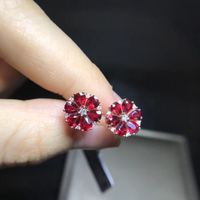 Real 18K Rose Gold Ruby stud earring Natural and real ruby Earring Fine jewelry Gem 2.226 ct With 14pcs Diamond 1 1.7mm