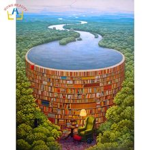 river book forest modular pictures for draw by numbers wall art poster painting for the kitchen home decor canvas prints RA3253(China)