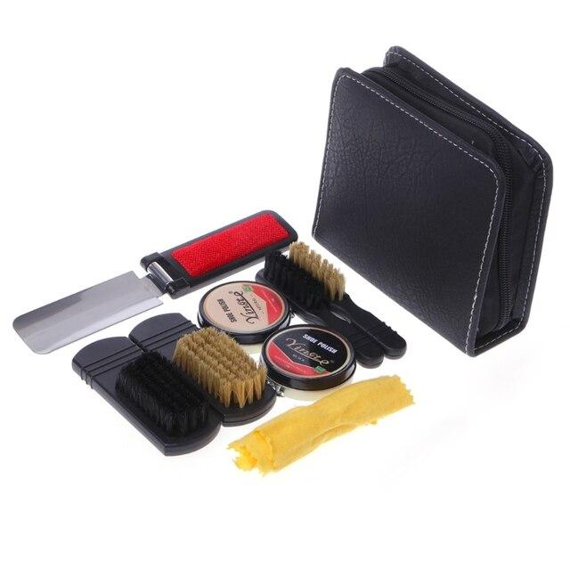 e02e36225 Nuevo conjunto de brochas pulidoras de limpieza de zapatos para hombre y  mujer con bolsa de