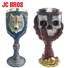 Stainless Steel Gothic Halloween Party Drinking Goblet 3D Skull Skeleton Claw Wolf Head Personality Cup Wine Glasses Whiskey Cup