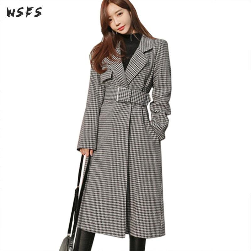Hiver chaud manteau gris pied de poule Plaid vêtements de plein air à manches longues 2019 laine manteaux femmes bureau dames élégant ceinture en laine pardessus