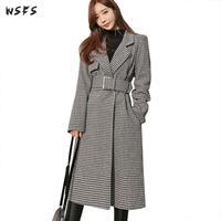 Winter Warm Coat Grey Houndstooth Plaid Outerwear Long Sleeve 2019 Wool Coats Womens Office Ladies Elegant Belt Woolen Overcoat