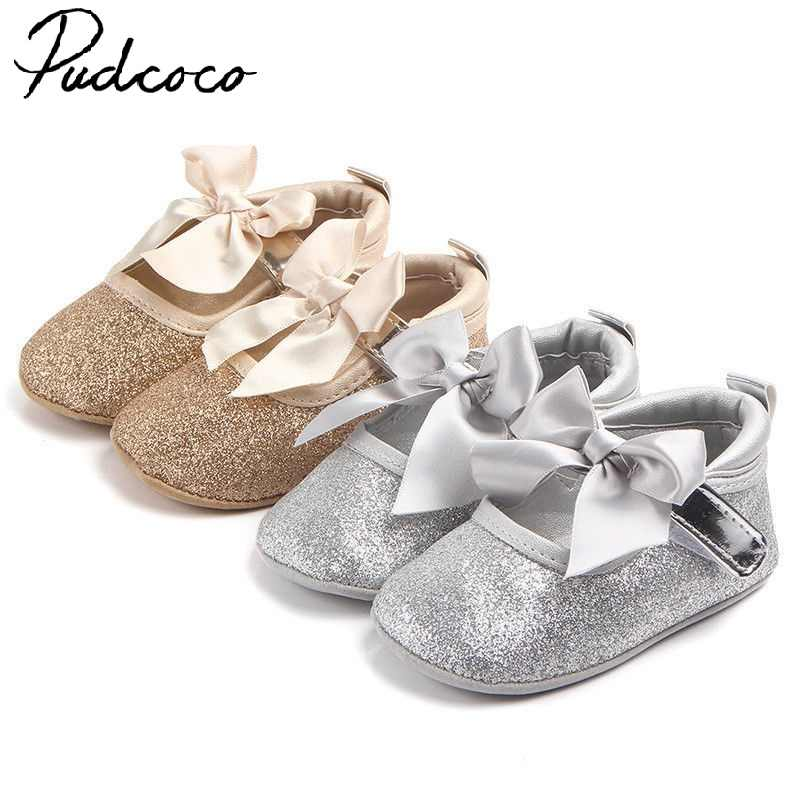 2017 Brand New Newborn Infant Girls Baby Soft Sole Crib Shoes Toddler Sneakers Leather Shoes 9-18M Princess Gift