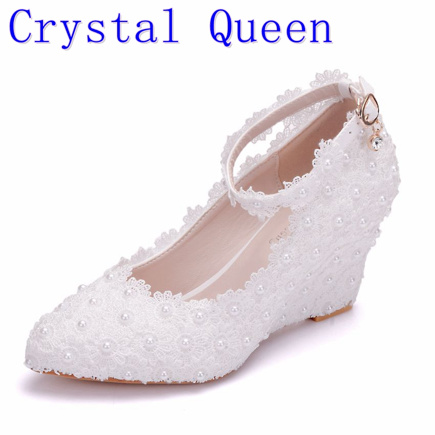 Crystal Queen White Flower Wedding Shoes Lace Pearl High Heels Sweet Bride Dress Shoes Beading Wedges Shoes 8cm Women Pumps shoes blue lace flower bride white pearl diamond wedding shoes pointed high heeled sandals dress shoes bag set pink shoes set