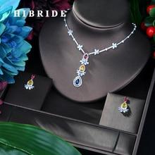 HIBRIDE Heißer Verkauf Multicolor AAA Cubic Zirkon Anhänger Halskette Ohrringe Set Mode Elegante Schmuck Set Frauen Geburtstag Geschenk N 25