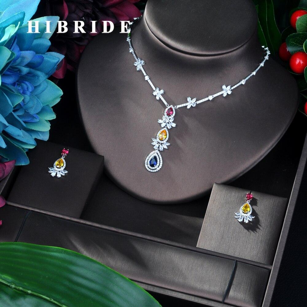 HIBRIDE offre spéciale multicolore AAA cubique Zircon pendentif collier boucles d'oreilles ensemble de mode élégant bijoux ensemble femmes cadeau d'anniversaire N-25