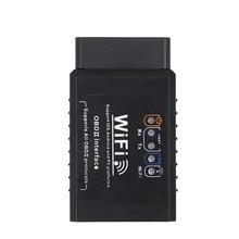 Motoryzacja V1.5 ELM327 wifi w samochodzie OBD2 miernik obd ii adapter skanera sprawdź narzędzie diagnostyczne światła silnika czarny