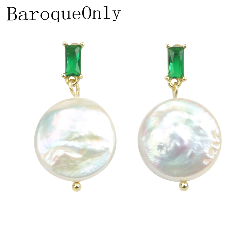 Pearl Earrings Jewelry Gifts Stonepearl-Buttons Crystal Drop-Fashion EAP Green for Woman