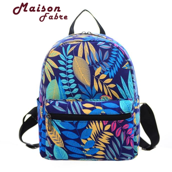 Maison Fabre2017 Fashion Women Backpack Causal Printing Canvas Softback Bag Gril School Bag Rucksack mochila feminina Gift 1pcs