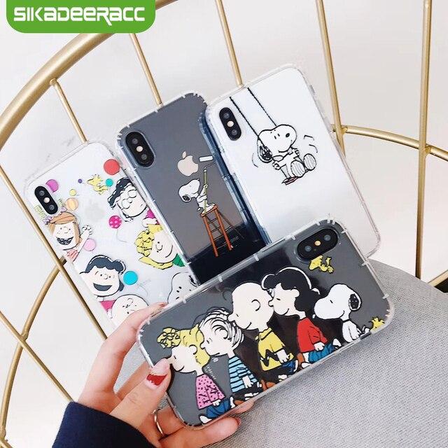 Cacahuetes fundas de teléfono para iPhone 8 Plus 6 6 s 7 Plus X Xs perro TPU suave transparente a prueba de golpes Ultra fundas traseras ajustadas delgadas SI64