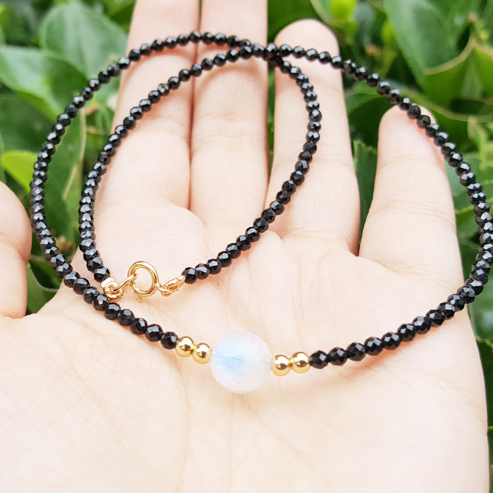 Natural Stone Black Spinels 2 3mm Faceted Beads&White Moonstone 7 8mm Beads&925 Sterling Silver Clasp Necklace 16inch/40cm