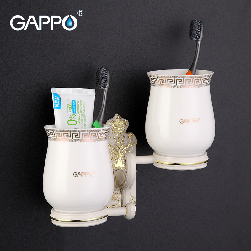 GAPPO 1 Set High Quality Wall-mount Zinc Alloy Cup Holder Cetamic Cups Bathroom Accessories Double Toothbrush Holder Organizer image