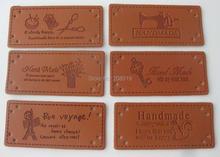 LLNVS 25mm*55mm PU leather coat labels 50 pieces square shape brown main decorative accessories