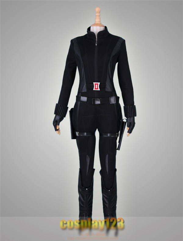 Anime Captain America Natasha Romanoff Black Widow Cosplay Costume Black Straitjacket Free Shipping
