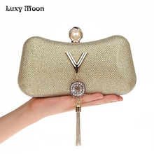 LUXY MOON Women Evening Bags Fashion Tassel Lady Diamond Clutch Chain Shoulder Bag Small Purse Messenger Bag Handbags ZD739